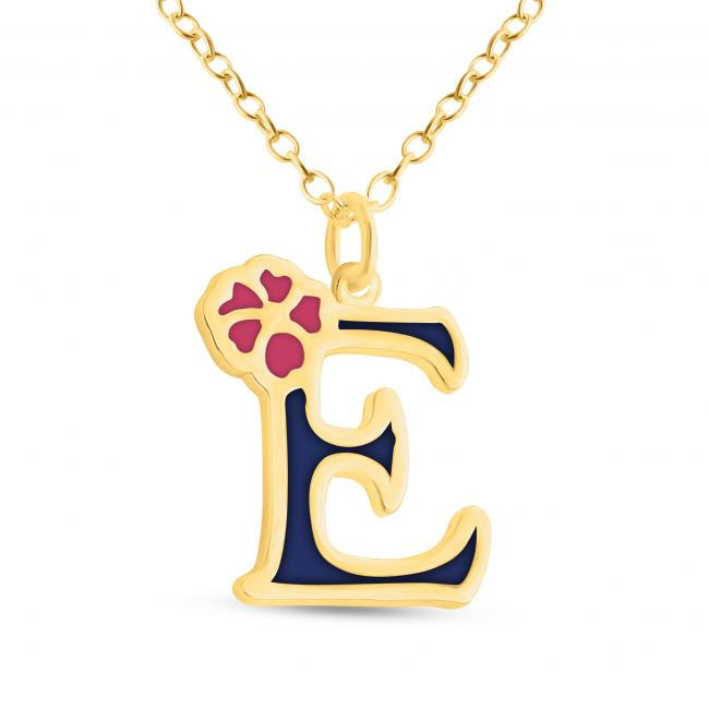 Gold plated necklace Colored Initial Letter E with Flower