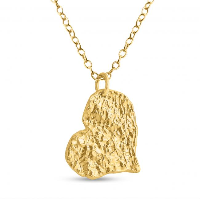 Gold plated necklace Hammered Heart