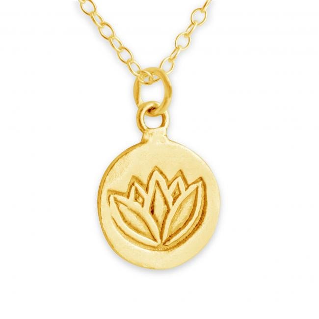 Gold plated necklace Lotus Flower Medallion