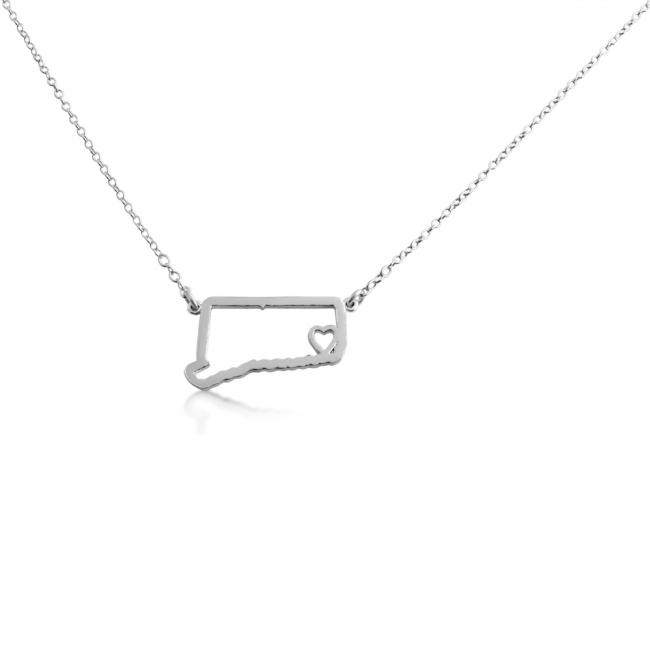 925 sterling silver necklace Connecticut Home is Where The Heart Is State Necklace