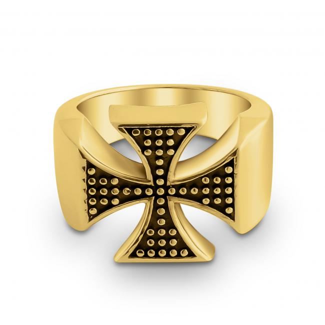 Gold plated ring Two-Toned st. George's Cross