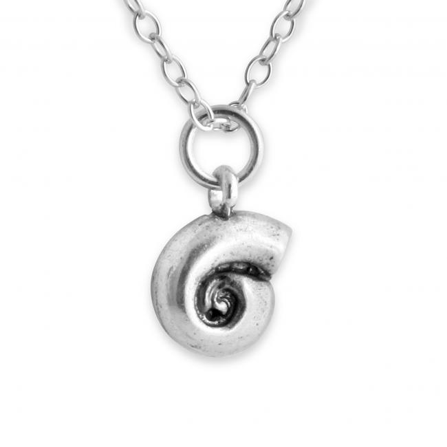 925 sterling silver necklace Water Snail Shell Double Sided Beach