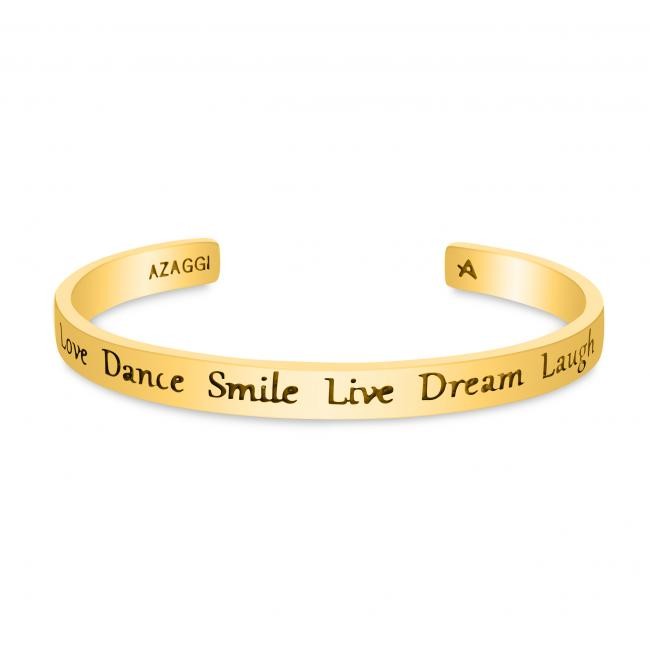 Gold plated bracelet Brass/ Rhodium Love Dance Smile Live Dream Laugh Inspirational Cuff Bracelet