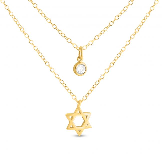 Gold plated necklace Star of David and CZ w/ Double Chain