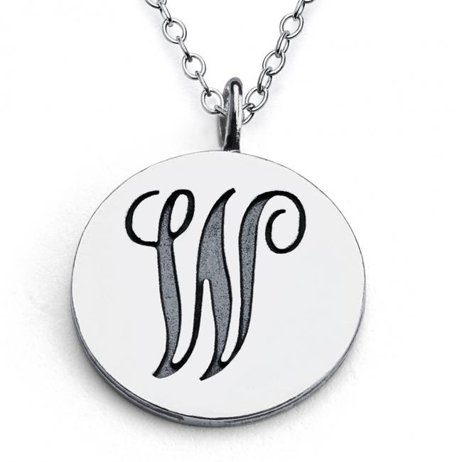 925 sterling silver necklace W Script Letters