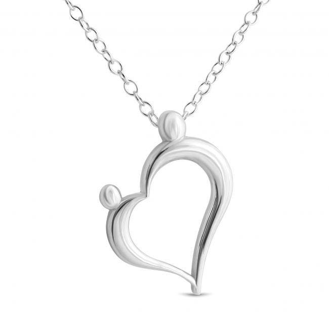 925 sterling silver necklace Mother and Child Family Love Heart