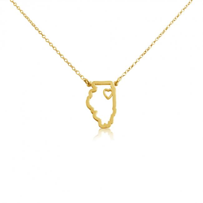 Gold plated necklace Illinois Home is Where The Heart Is State Necklace