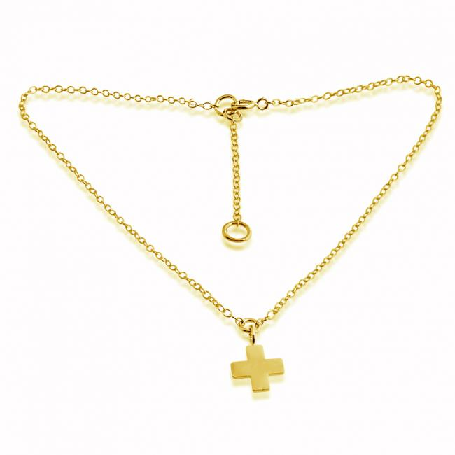Gold plated anklet Greek Cross Pendant Charm