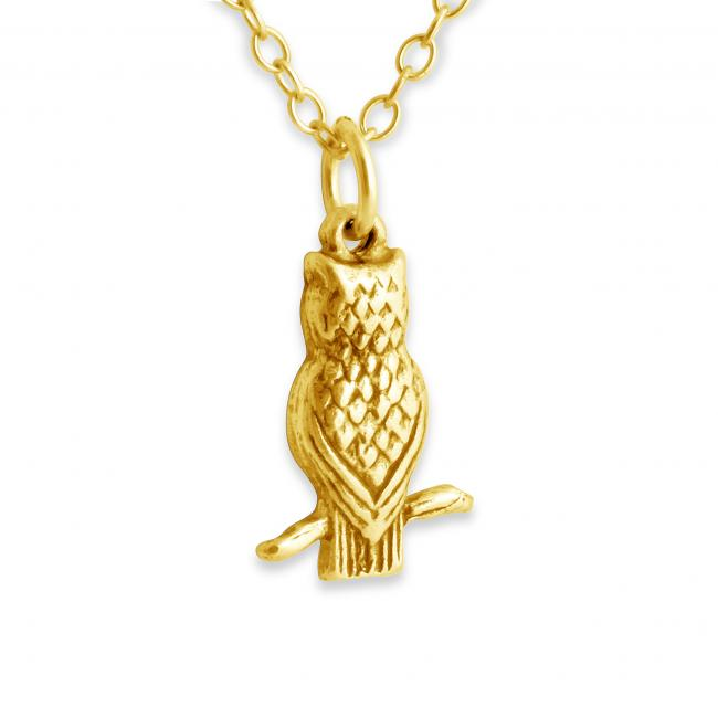 Gold plated necklace 3D Tiny Owl Night Bird