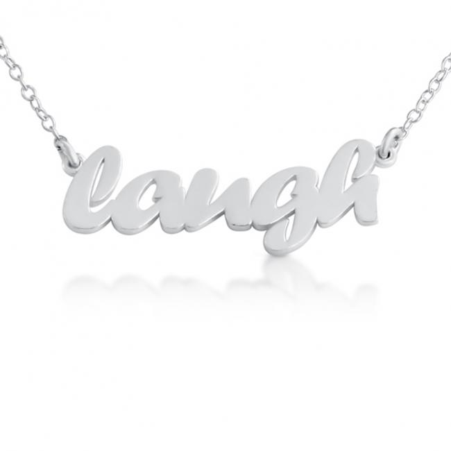 925 sterling silver necklace LAUGH (Script Word)