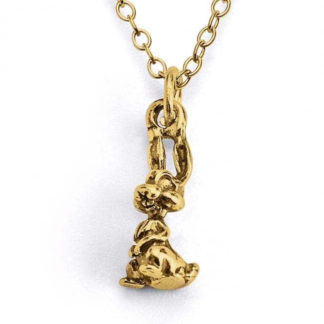 Gold plated necklace Solid 3D Bunny Rabbit