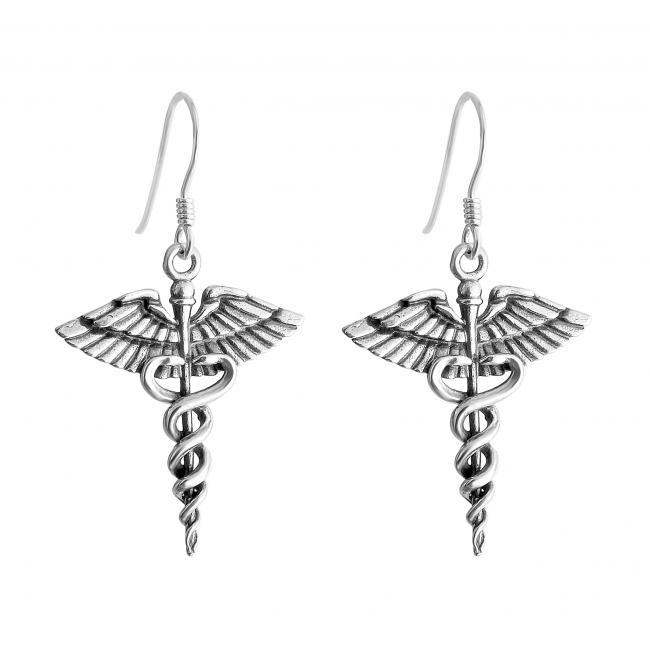 925 sterling silver earrings Caduceus Symbol of Medicine Necklace For Doctors & Nurses