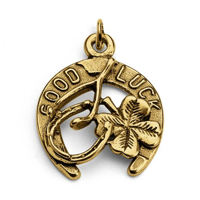 Gold plated necklace Good Luck Horseshoe Four Leaf Clover Wishbone
