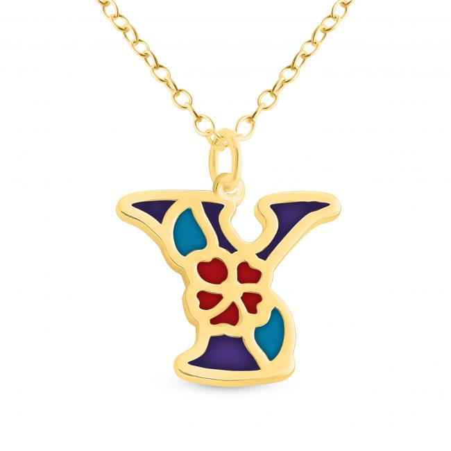 Gold plated necklace Colored Initial Letter Y with Flower