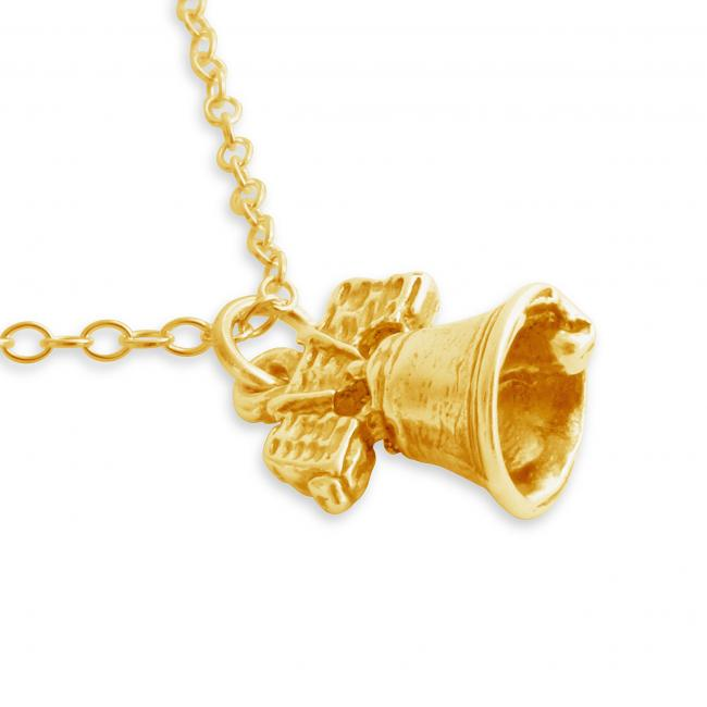 Gold plated necklace 3D Liberty Bell Symbol of American Independence Philadelphia