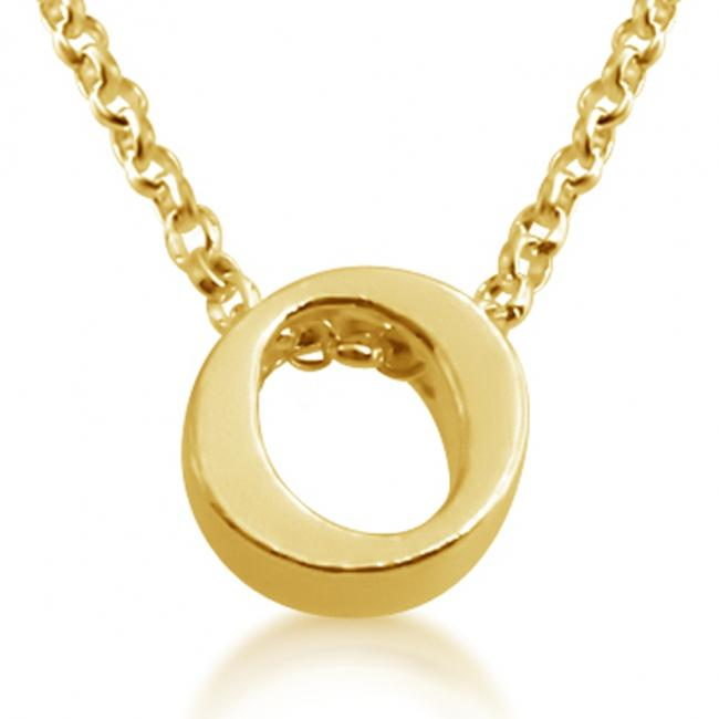 Gold plated necklace Initial Letter O Personalized Symbols & Letters Serif Font