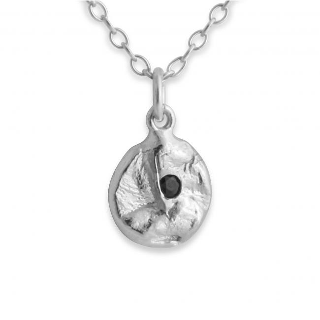 925 sterling silver necklace Circle w/ Faceted Black Onyx