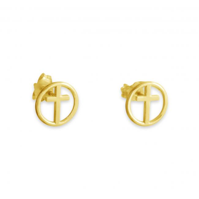 Gold plated earrings Cross in Circle