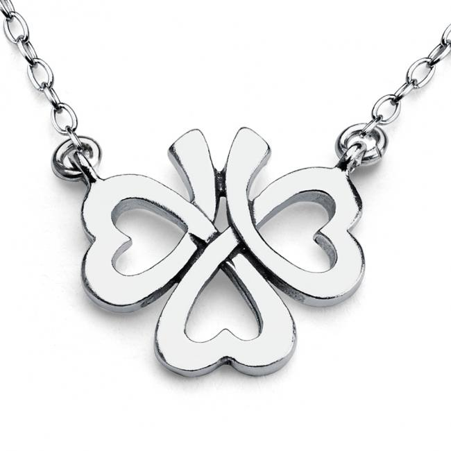 925 sterling silver necklace Upside Down Four-Leaf Clover Jump Ring Necklace