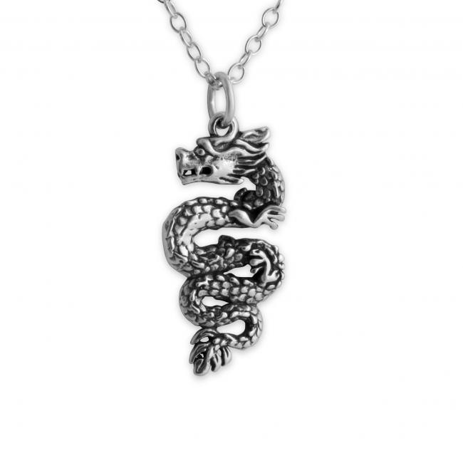 925 sterling silver necklace Chinese Dragon 2-Sided