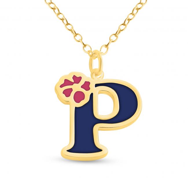 Gold plated necklace Colored Initial Letter P with Flower