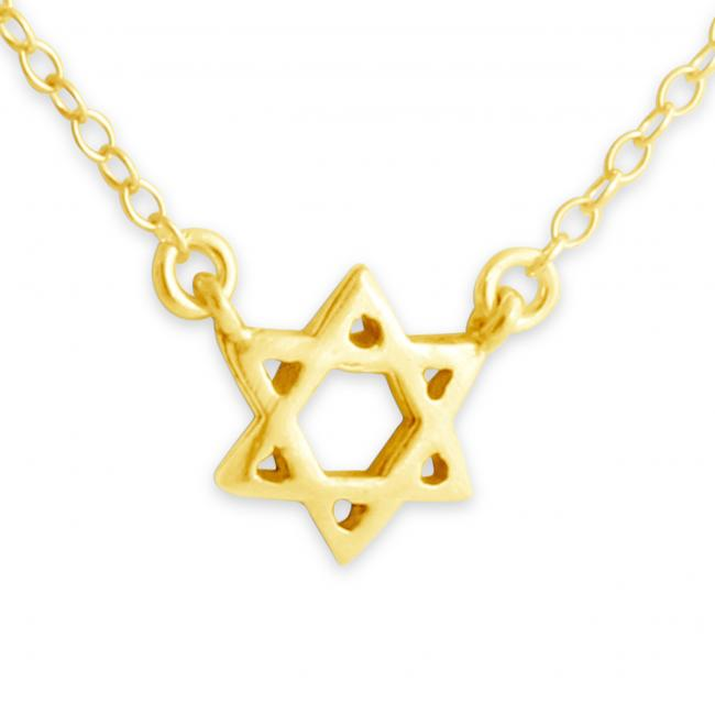 Gold plated necklace Star of David Jump Ring Necklace