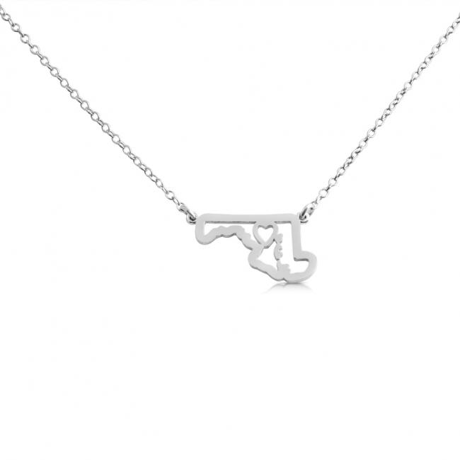925 sterling silver necklace Maryland Home is Where The Heart Is State Necklace
