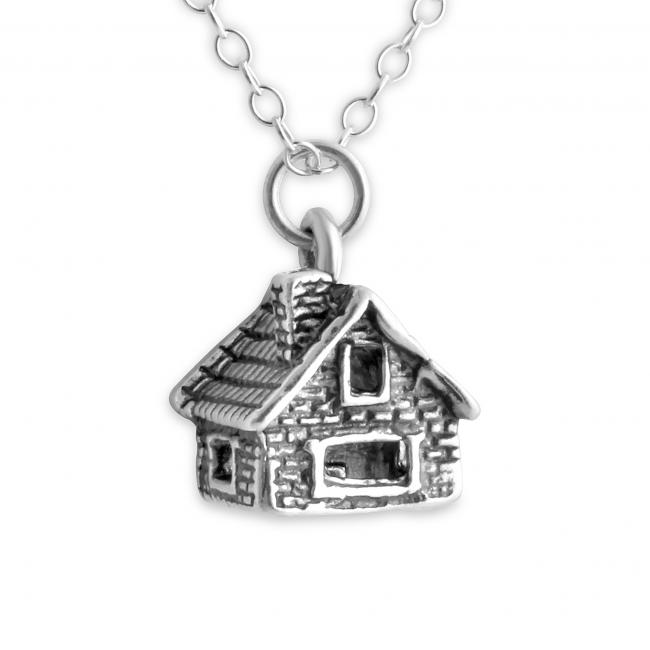 925 sterling silver necklace 3D Log Cabin House