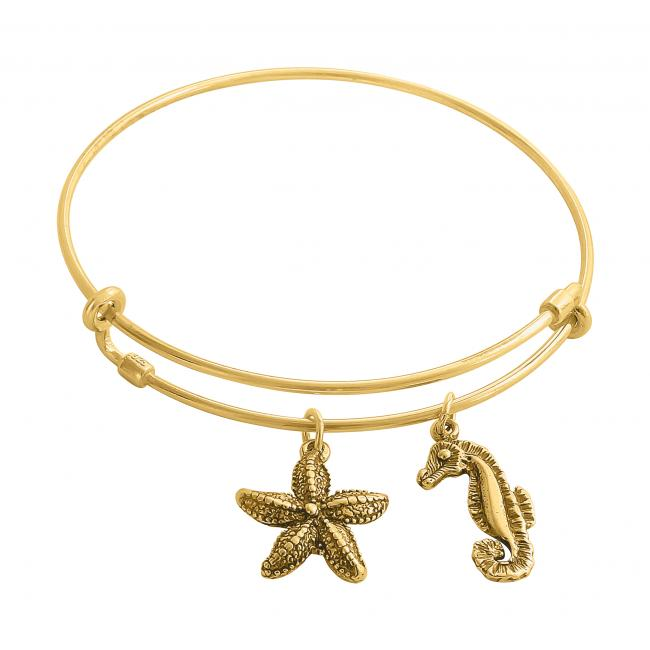 Gold plated bracelet Underwater World Adjustable Wire Bangle