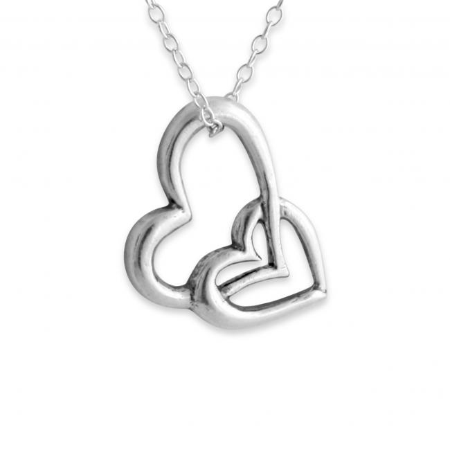 925 sterling silver necklace Heart in Heart