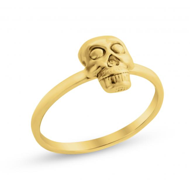 Gold plated ring Skull