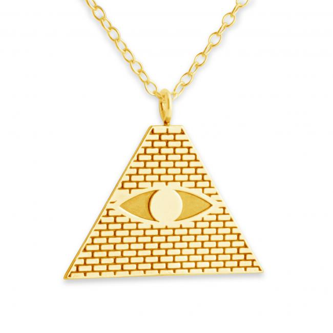 Gold plated necklace All Seeing Eye Pyramid