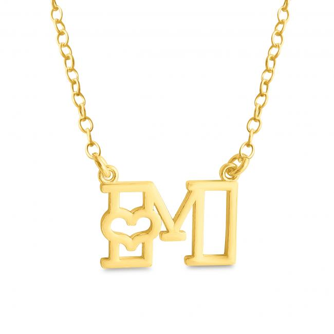 Gold plated necklace Initial Letter M with Heart Sideways