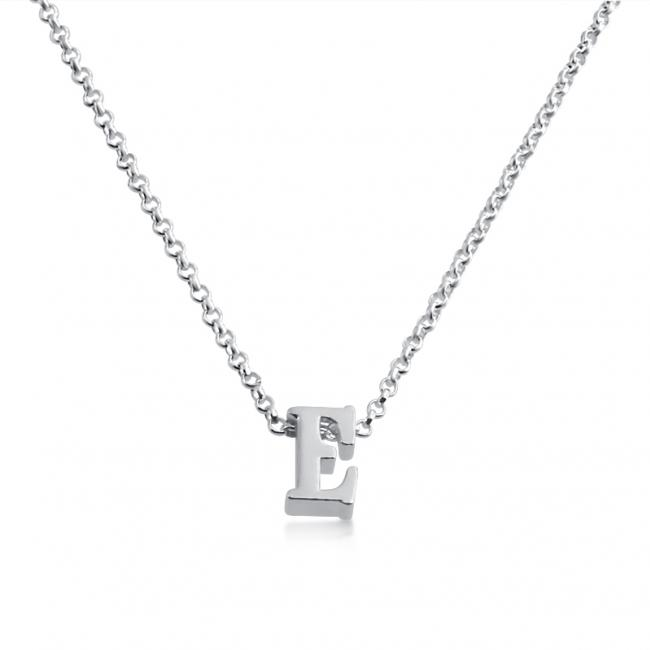 925 sterling silver necklace Initial Letter E Personalized Symbols & Letters Serif Font