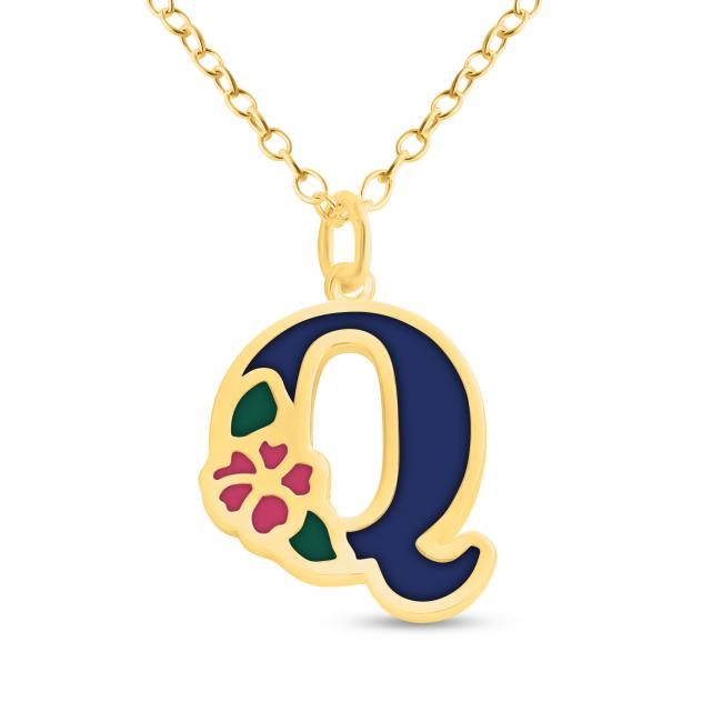 Gold plated necklace Colored Initial Letter Q with Flower