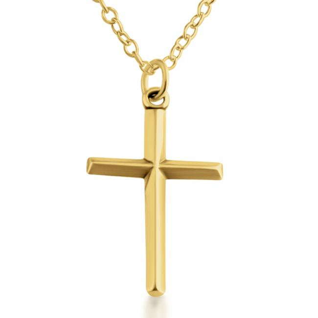 Gold plated necklace Simple Beveled Christian Cross
