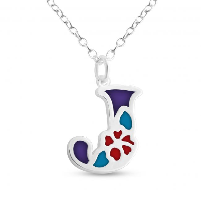 925 sterling silver necklace Colored Initial Letter J with Flower