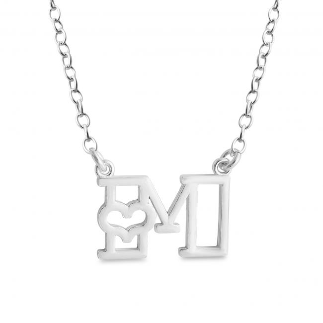 925 sterling silver necklace Initial Letter M with Heart Sideways