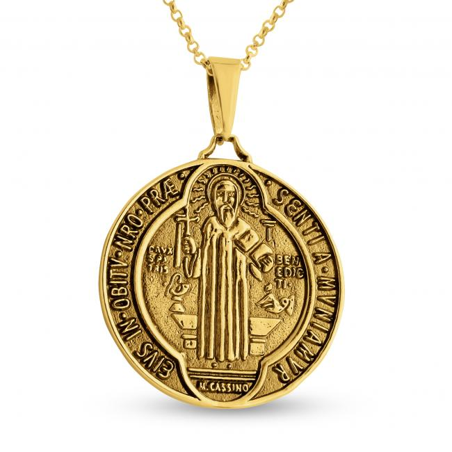 Gold plated necklace Saint Benedict Medal
