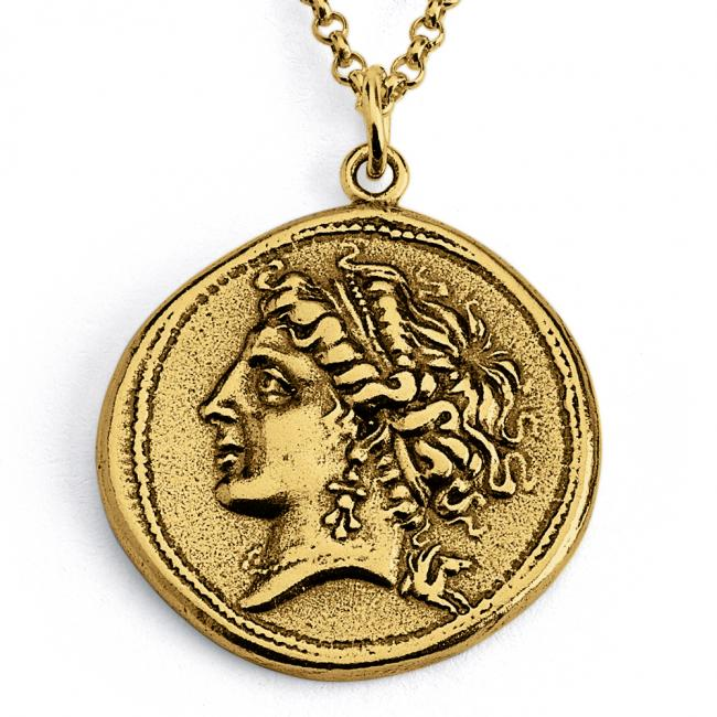 Gold plated necklace Replica Campania Neapolis Ancient COIN
