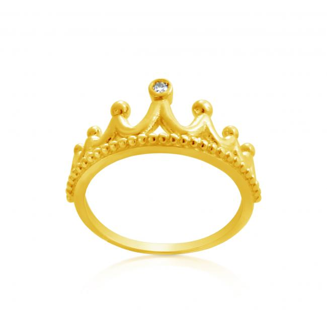 Gold plated ring 2mm (0.03 ct. tw) Diamond Princess Tiara