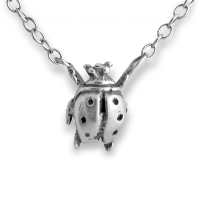 925 sterling silver necklace Ladybug Jump Ring Necklace