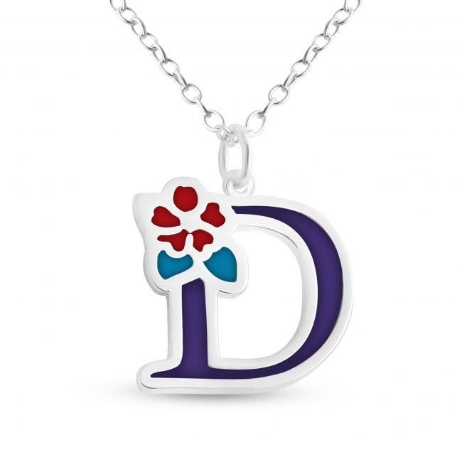 925 sterling silver necklace Colored Initial Letter D with Flower