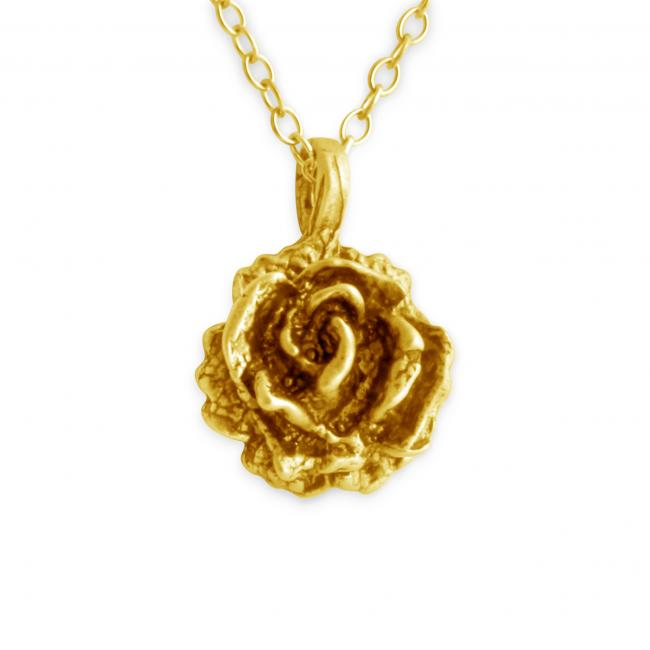 Gold plated necklace 3D Rose Flower