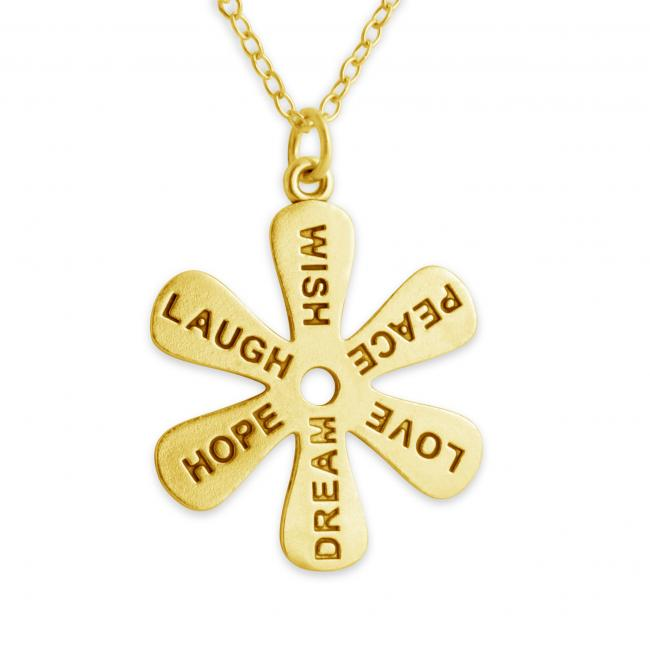 Gold plated necklace Flower - Message