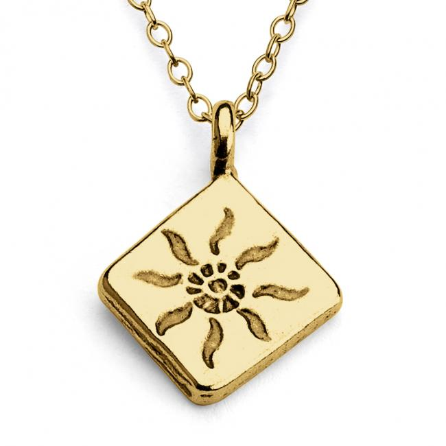 Gold plated necklace Rays of Sun Diamond Shape Double Sided
