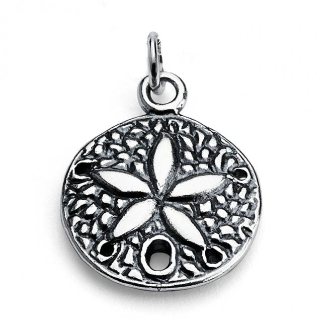 925 sterling silver necklace Sand Dollar Flower Double Sided