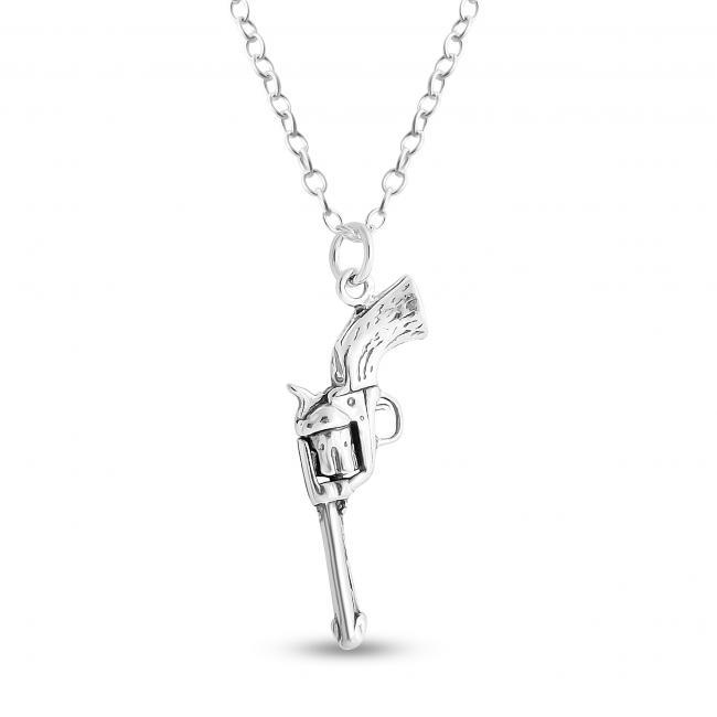925 sterling silver necklace Gun Revolver Pistol Handgun Military Weapon