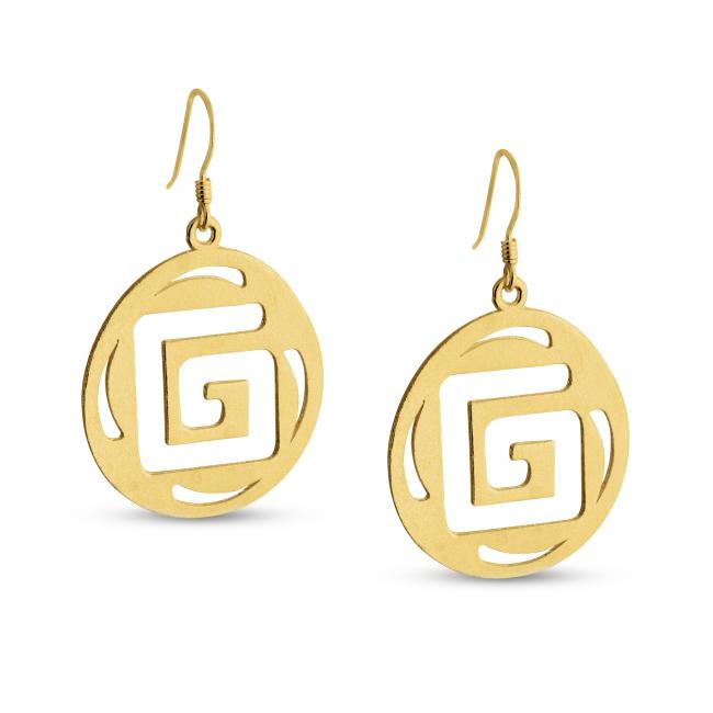 Gold plated earrings Outline Square G Textured Round Shape