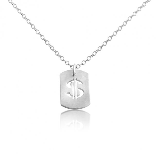 925 sterling silver necklace Dollar Sign Dog Tag